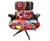 patchwork lounge chair in walnut shell