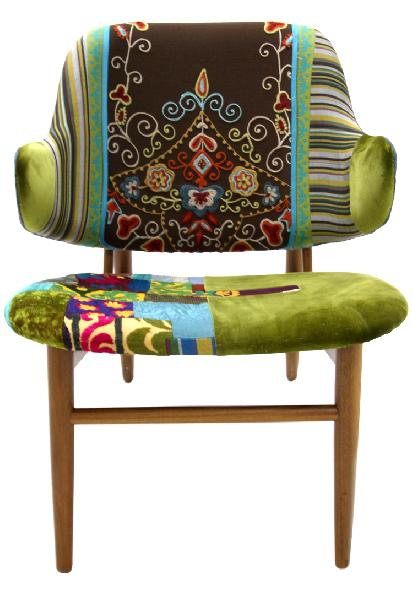 green patchwork armchair