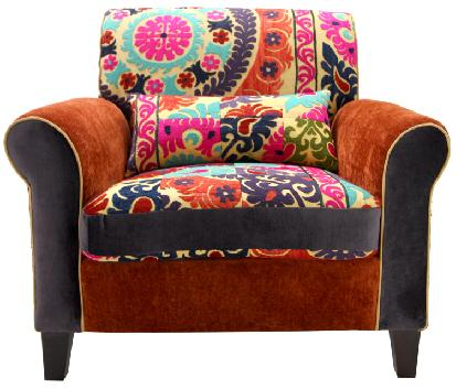 modern patchwork armchairs